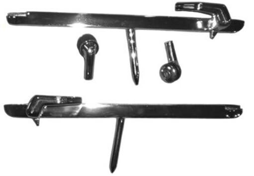 68-70 B-Body Vent Window Chrome Glass Channels, Levers + Pivots