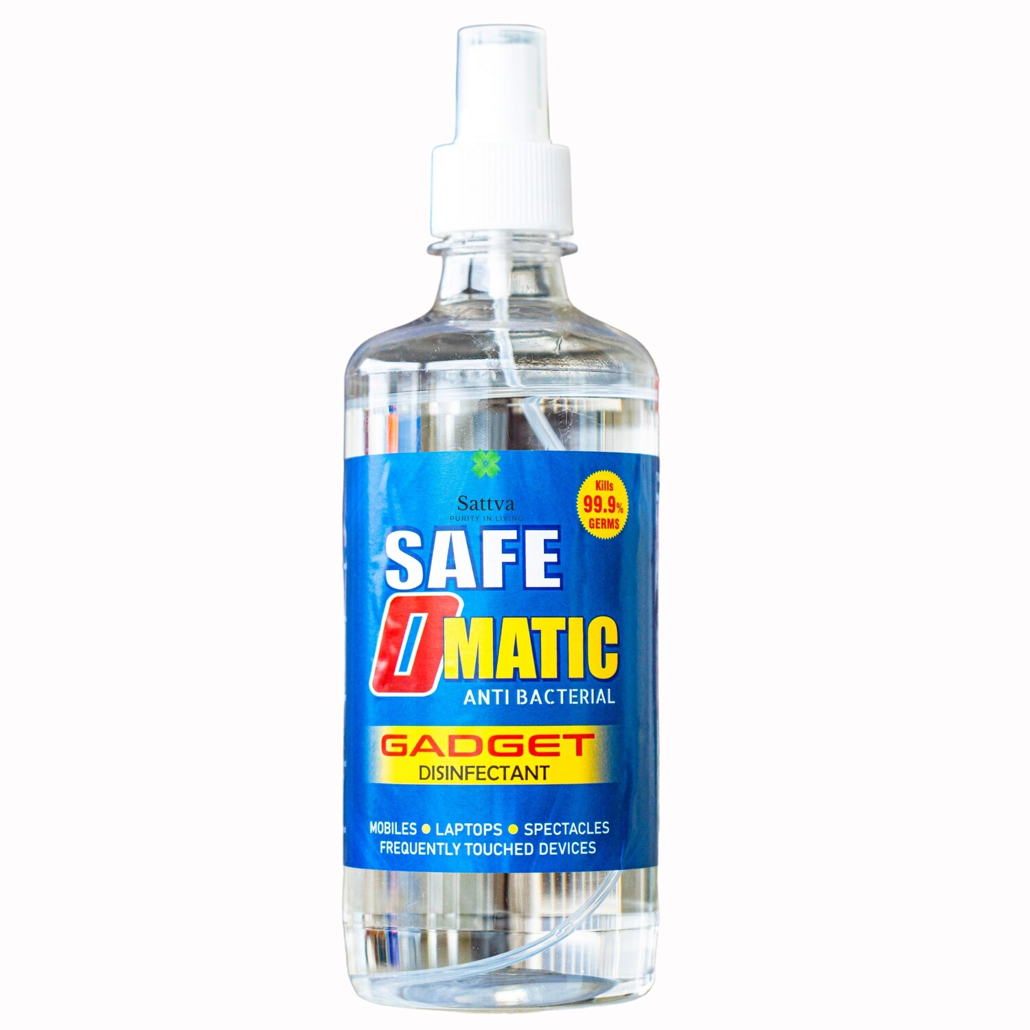Sattva Safe-O-Matic Gadget Disinfectant and Mobile Cleaner with 99.7% Alcohol,Cleans Dirt, Antibacterial ,Kills 99.9% Germs and Viruses 500ml Spray.