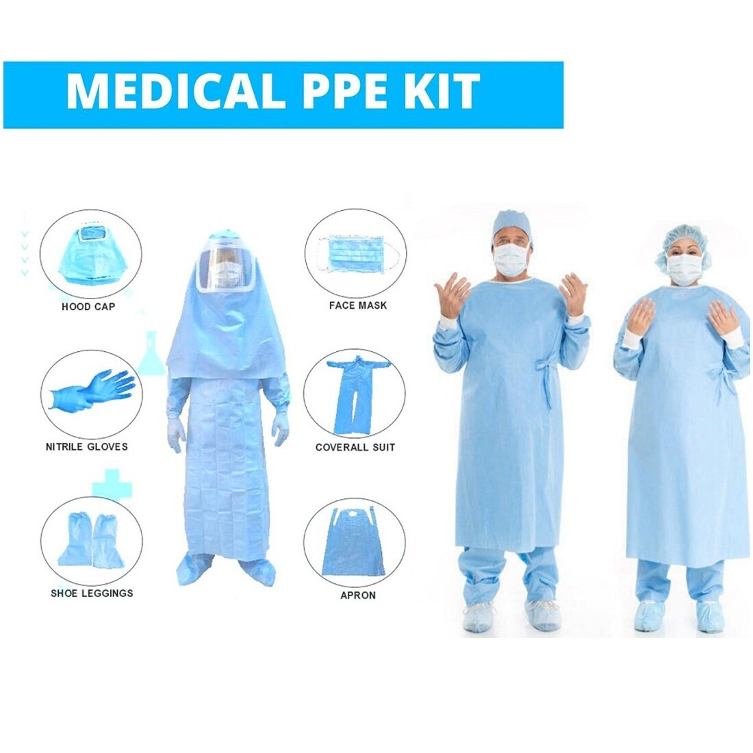 Sattva Washable Bio-Hazard PPE Safety COVERALL ONLY, SITRA APPROVED 95 GSM TPU Coated Material, White, OSFM. Hot Air Seam Seal & Elasticated Waist. Reusable upto 20 times. No Kit Inclusions.