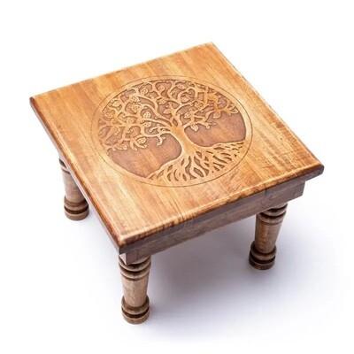 Houten bijzettafel / meditatiebankje - Levensboom
