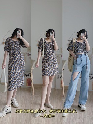Retro Hyacinth Dress | 风信子复古方领抽绳连衣裙
