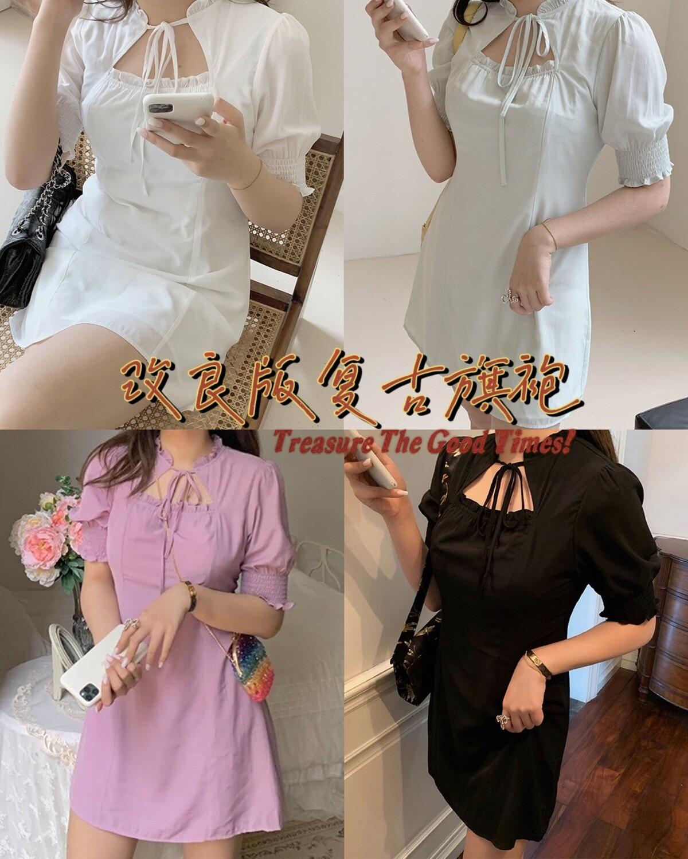 Retro Cheongsam Dress   优雅复古改良版旗袍连衣裙