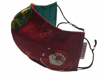 Handmade mask red santa design *3 LAYER*