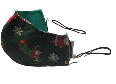 Handmade mask green christmas design small size *3 LAYER*