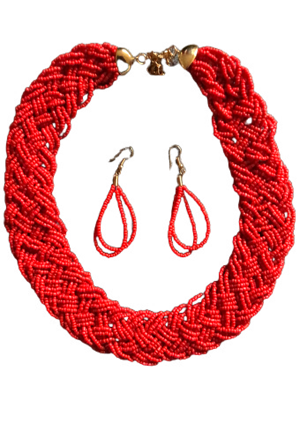 Red set necklace & earrings
