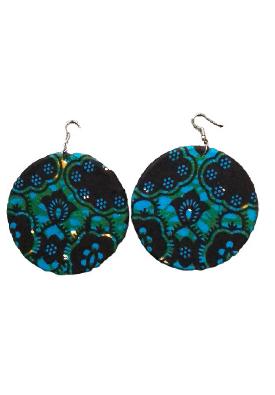 Blue African print earrings