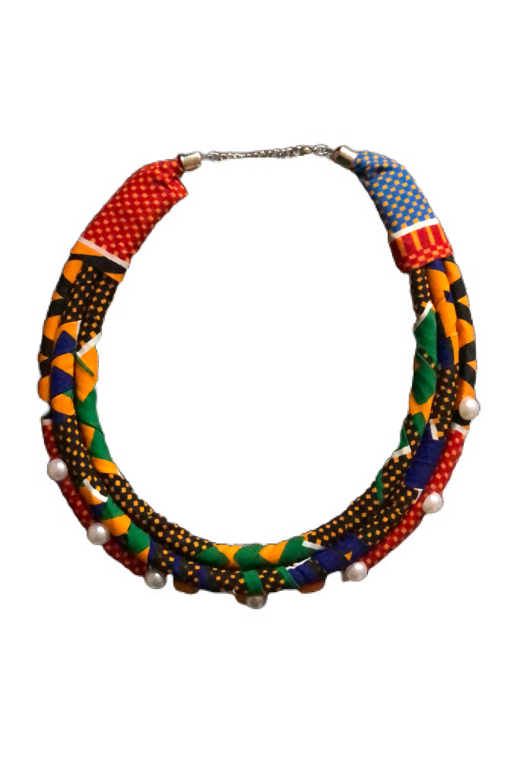 Mixed African print necklace with pearls