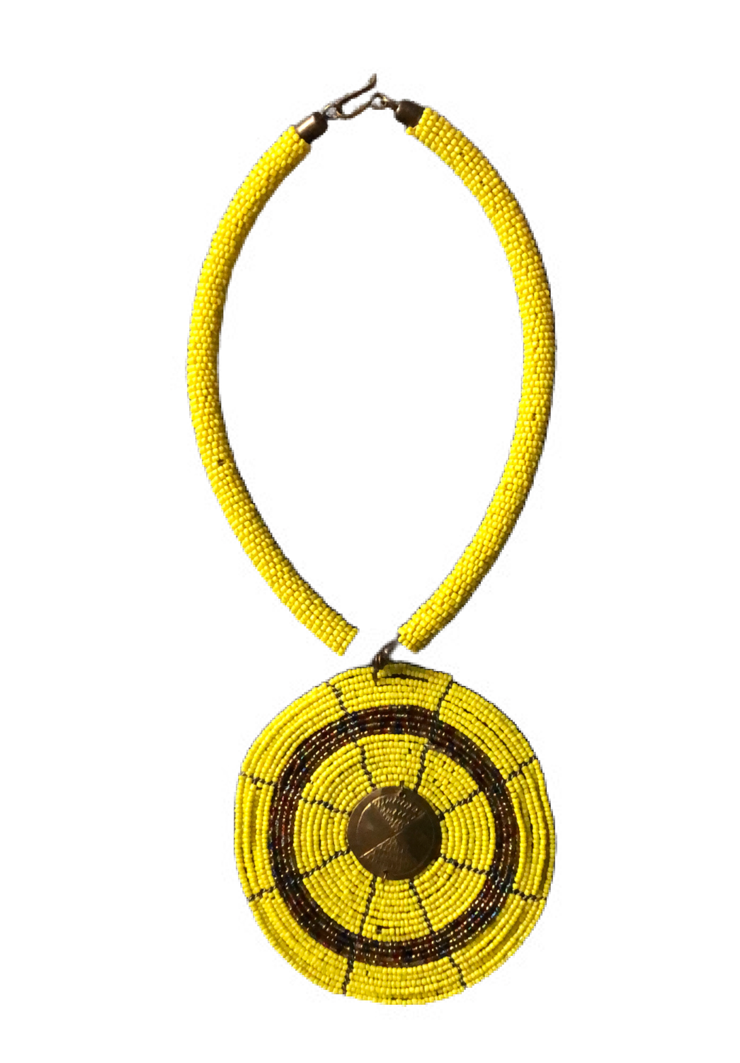 Yellow African design necklace