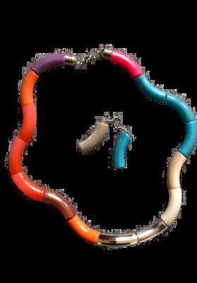 Multi color set necklace & earrings
