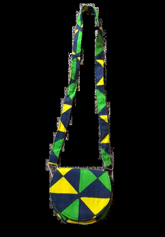 Yellow, blue, green African design handbag