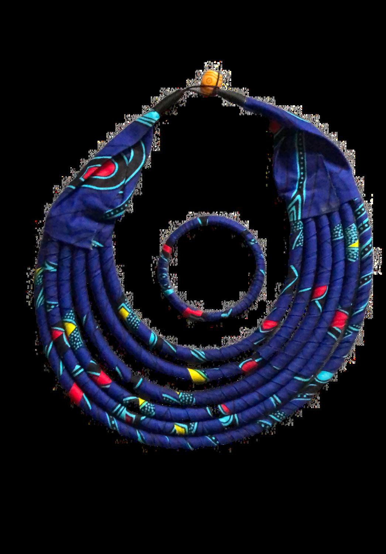 Blue African design set necklace and bracelet