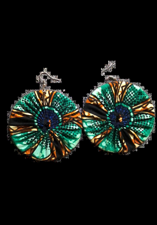 Green African print earrings
