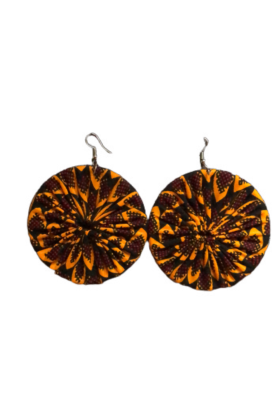 Yellow African print earrings