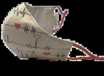 My heart beats white 4 u *3 LAYER* handgemaakt katoenen mondmasker (wit)
