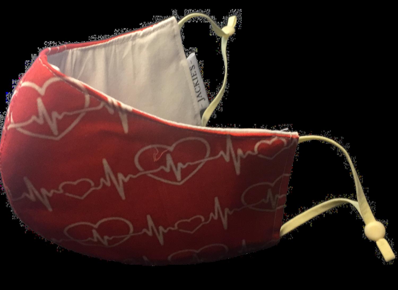 My heart beats red 4 u *3 LAYER* handgemaakt katoenen mondmasker (rood)