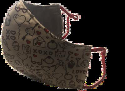 XOXO *3 LAYER* handgemaakt katoenen mondmasker