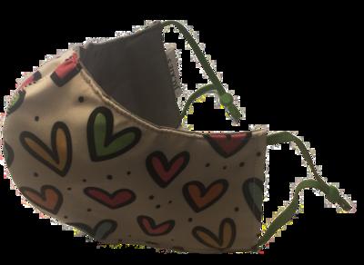 Pop (He)art *3 LAYER* handgemaakt katoenen mondmasker
