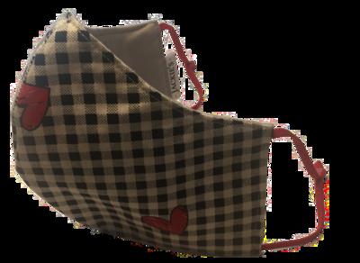 Checkers Heart *3 LAYER* handgemaakt katoenen mondmasker