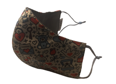 All of my Heart *3 LAYER* handgemaakt katoenen mondmasker