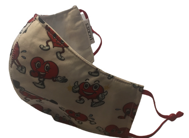 Sponge Heart *3 LAYER* handgemaakt katoenen mondmasker
