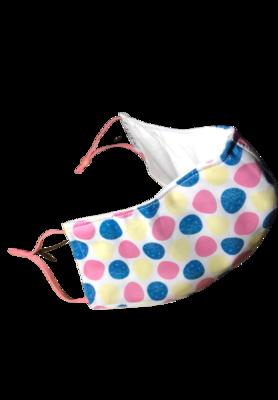 Easter Eggs Blue Pink Yellow *3 LAYER* handgemaakt katoenen mondmasker