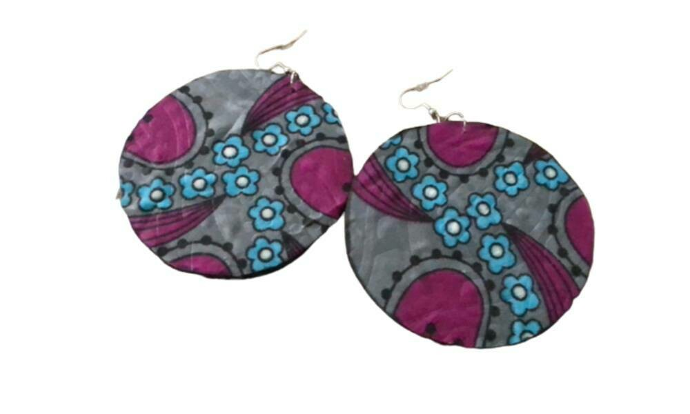 Pink and blue African print earrings