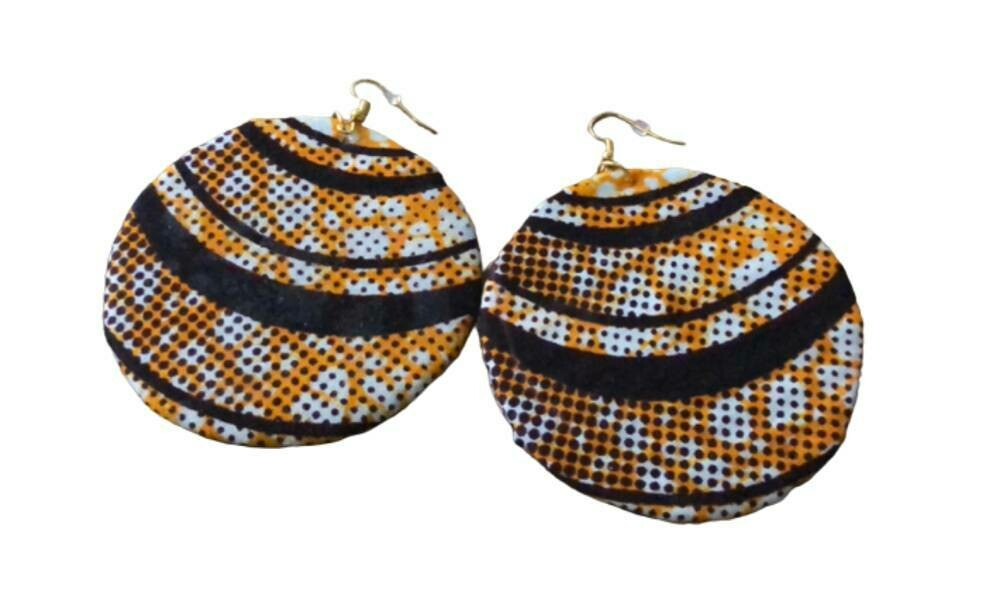 Yellow and black African print earrings