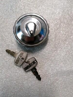 Benzinedop chroom  met slot (2 sleutels)