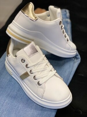 Sneaker white gold/silver