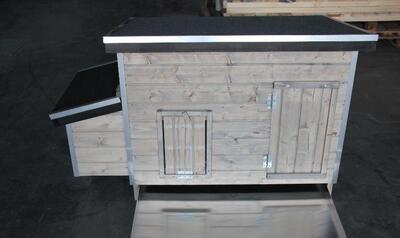 Kippenhok wood 2 Grijs + ALU mestlade
