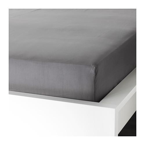 Простыня натяжная, УЛЛЬВИДЕ, серый, 160x200 см