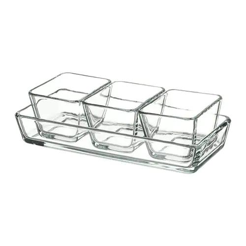 МИКСТУР Форма/блюдо д/дхвк, 4 шт, прозрачное стекло (3 шт. 9х7 см и 1шт. 24х11 см)