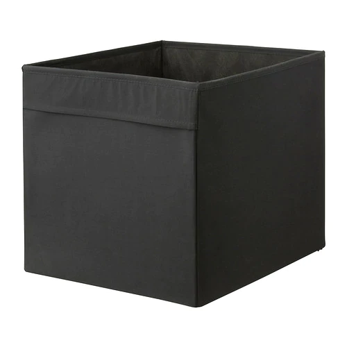 ДРЁНА Коробка,черный/33x38x33 см