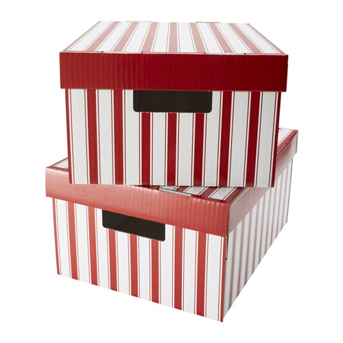ПИНГЛА Коробка с крышкой, полоска белый, красный