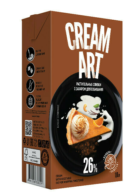 """Растительные сливки Creamart 26% """"Ваниль"""". Для взбивания  с сахаром 1 л"""