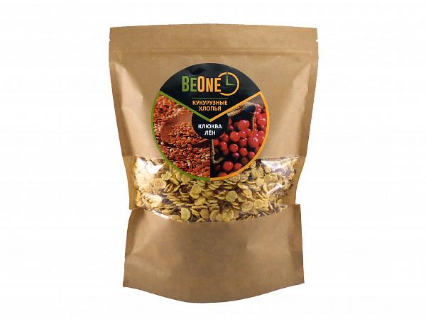 Хлопья кукурузные со льном и клюквой BeOne 750г