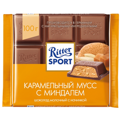 """Шоколад Ritter Sport """"Карамельный мусс с миндалем"""" молочный"""