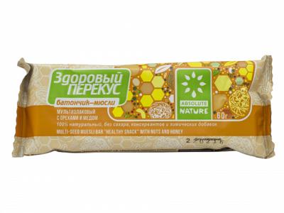 Батончик-мюсли с орехом и медом Здоровый перекус 60г