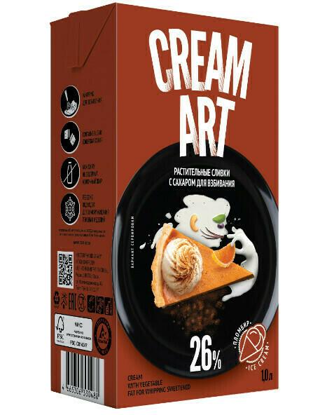 """Растительные сливки Creamart 26% """"Пломбир"""" 1л. Для взбивания с сахаром"""