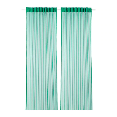 ГРОТИСТЕЛЬ Гардины, 2 шт., зеленый  145x300 см