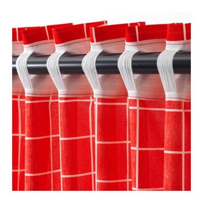 РОЗАЛИЛЛ Затемняющие гардины, 1 пара, красный/белый  145x300 см