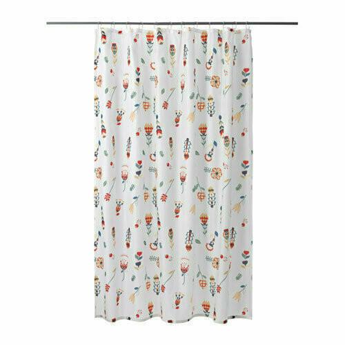Штора для ванной, РОЗЕНФИББЛА, белый, цветочный орнамент, 180x200 см