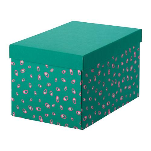 ТЬЕНА Коробка с крышкой, зеленый точечный 18x25x15 см