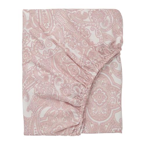 ЙЭТТЕВАЛЛМО Простыня натяжная, белый, розовый  180х200