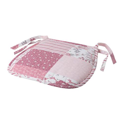 ГАБРИКЕ Подушка на стул, белый, розовый 27/38x38x3 см