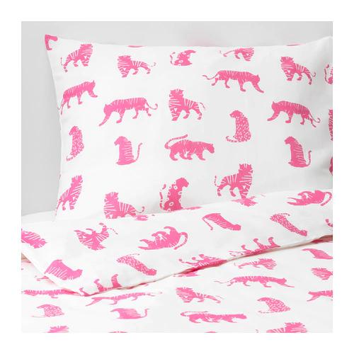 УРСКОГ Пододеяльник и 1 наволочка, тигр, розовый  150x200/50x70 см