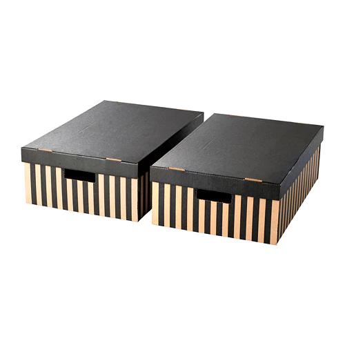 ПИНГЛА Коробка с крышкой, черный, естественный / 2 шт. 56*37*18см
