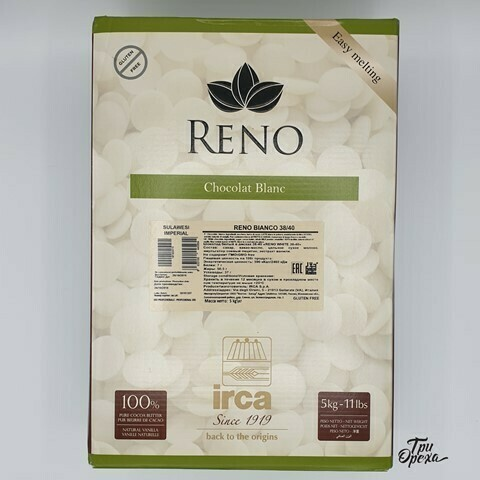 "Шоколад белый в дисках 31,5% ""Reno bianko sulawesi imperial"" 5 КГ, IRCA, Италия"