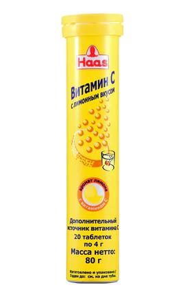 """Шипучий Витамин С """"Haas"""", с лимонным вкусом, 80 г/20 шт"""