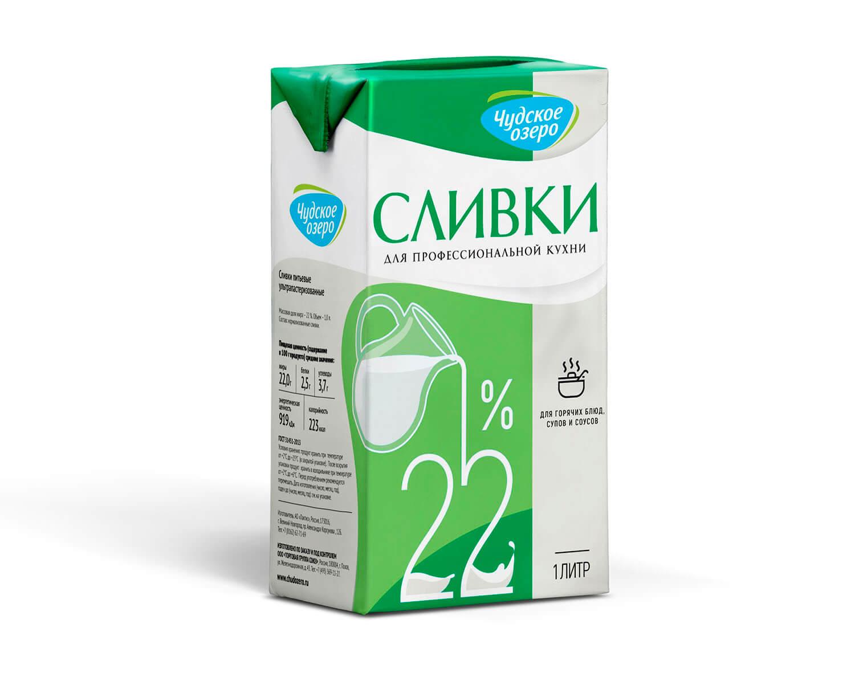 """Сливки питьевые ультрапастеризованные ТМ """"Чудское озеро"""", мдж 22%, 1 л."""